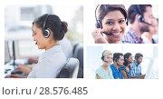 Купить «Collage of Customer Service help team in call center», фото № 28576485, снято 14 декабря 2019 г. (c) Wavebreak Media / Фотобанк Лори