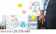 Купить «Businesswoman holding briefcase with idea drawings», фото № 28576645, снято 23 августа 2019 г. (c) Wavebreak Media / Фотобанк Лори