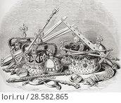 Купить «English regalia. From Old England: A Pictorial Museum, published 1847.», фото № 28582865, снято 30 мая 2020 г. (c) age Fotostock / Фотобанк Лори