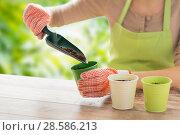 Купить «close up of woman hands with trowel adding soil», фото № 28586213, снято 3 марта 2015 г. (c) Syda Productions / Фотобанк Лори