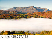 Купить «Temperature inversion created clouds in Ambleside in the Lake District, UK, October 2004.», фото № 28587193, снято 15 августа 2018 г. (c) Nature Picture Library / Фотобанк Лори