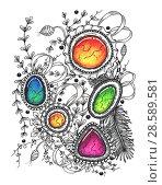 Купить «Abstract drawing in the style of zenart», иллюстрация № 28589581 (c) Любовь Назарова / Фотобанк Лори