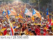 Купить «People at rally demanding independence for Catalonia», фото № 28590605, снято 11 сентября 2014 г. (c) Яков Филимонов / Фотобанк Лори