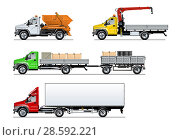 Купить «Spec trucks set isolated on white», иллюстрация № 28592221 (c) Александр Володин / Фотобанк Лори