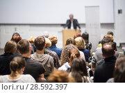 Купить «Business speaker giving a talk at business conference event.», фото № 28592397, снято 16 июля 2018 г. (c) Matej Kastelic / Фотобанк Лори