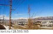 Купить «view to suburb from train or railway in japan», видеоролик № 28593165, снято 9 июня 2018 г. (c) Syda Productions / Фотобанк Лори
