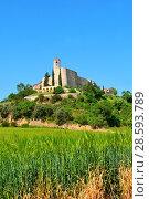 Medieval village of Montfalco Murallat, la Segarra, LLeida province, Catalonia, Spain. Стоковое фото, фотограф Josep Curto / easy Fotostock / Фотобанк Лори