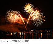 Купить «Celebratory firework in a night sky», фото № 28605381, снято 18 июля 2018 г. (c) ElenArt / Фотобанк Лори