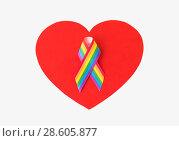 Купить «gay pride awareness ribbon on red heart», фото № 28605877, снято 14 ноября 2017 г. (c) Syda Productions / Фотобанк Лори