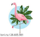Купить «pink flamingo bird over blue background», фото № 28605981, снято 3 июля 2020 г. (c) Syda Productions / Фотобанк Лори