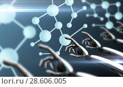 Купить «robot hands touching molecule formula», фото № 28606005, снято 21 октября 2018 г. (c) Syda Productions / Фотобанк Лори
