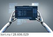 Купить «robot hands programming tablet pc over gray», фото № 28606029, снято 20 января 2019 г. (c) Syda Productions / Фотобанк Лори