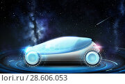Купить «futuristic concept car over space background», фото № 28606053, снято 22 августа 2019 г. (c) Syda Productions / Фотобанк Лори