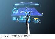 Купить «robot hand with virtual gps navigator», фото № 28606057, снято 21 марта 2019 г. (c) Syda Productions / Фотобанк Лори