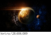 Купить «planet and stars in space», фото № 28606089, снято 26 мая 2020 г. (c) Syda Productions / Фотобанк Лори