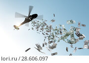 Купить «helicopter dropping money in sky», фото № 28606097, снято 7 июля 2020 г. (c) Syda Productions / Фотобанк Лори
