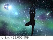 Купить «silhouette of woman making yoga over space», фото № 28606109, снято 6 августа 2014 г. (c) Syda Productions / Фотобанк Лори