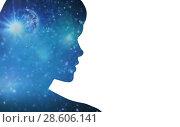 Купить «silhouette of woman over blue space background», фото № 28606141, снято 14 августа 2010 г. (c) Syda Productions / Фотобанк Лори