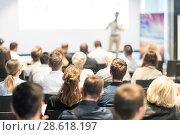 Купить «Business speaker giving a talk at business conference event.», фото № 28618197, снято 15 июня 2018 г. (c) Matej Kastelic / Фотобанк Лори