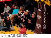 Купить «Celebrities at the Los Angeles Lakers game. The Golden State Warriors defeated the Los Angeles Lakers by the final score of 109-85 at the Staples Center...», фото № 28626157, снято 25 ноября 2016 г. (c) age Fotostock / Фотобанк Лори