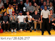 Купить «Celebrities at the Los Angeles Lakers game. The Golden State Warriors defeated the Los Angeles Lakers by the final score of 109-85 at the Staples Center...», фото № 28626217, снято 25 ноября 2016 г. (c) age Fotostock / Фотобанк Лори