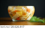 Купить «Chicken soup with homemade noodles», видеоролик № 28626817, снято 23 июня 2018 г. (c) Peredniankina / Фотобанк Лори
