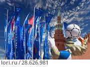 Купить «Wolf Zabivaka and Welcome flags in honour of the 2018 FIFA World Cup in Russia», фото № 28626981, снято 15 июня 2018 г. (c) Владимир Журавлев / Фотобанк Лори
