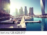 Купить «Dubai Marina, United Arab Emirates», фото № 28628017, снято 21 января 2016 г. (c) Iakov Kalinin / Фотобанк Лори