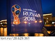 Купить «Флаги с символикой Чепионата мира по футболу FIFA 2018 на Крымском мосту в центре Москвы», фото № 28629361, снято 22 июня 2018 г. (c) Victoria Demidova / Фотобанк Лори