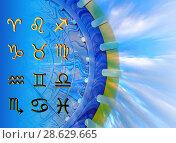 Купить «Twelve symbols of the zodiac. Space horoscope», иллюстрация № 28629665 (c) ElenArt / Фотобанк Лори