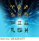 Купить «Twelve symbols of the zodiac. Space horoscope», иллюстрация № 28629677 (c) ElenArt / Фотобанк Лори