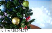 Купить «Christmas tree decorated with balls», видеоролик № 28644797, снято 26 июня 2018 г. (c) Peredniankina / Фотобанк Лори