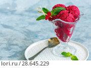 Red beetroot ice cream and green mint. Стоковое фото, фотограф Марина Сапрунова / Фотобанк Лори