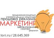Купить «Иллюстрация с текстом о маркетинге», иллюстрация № 28645369 (c) Julia Shepeleva / Фотобанк Лори