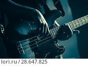 Купить «Electric bass guitar player hands, live music», фото № 28647825, снято 11 декабря 2016 г. (c) EugeneSergeev / Фотобанк Лори