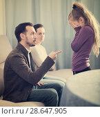 Купить «Parents lecturing daughter», фото № 28647905, снято 27 марта 2019 г. (c) Яков Филимонов / Фотобанк Лори