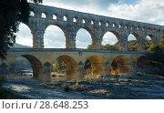 Купить «Famous landmark Roman Bridge Pont du Gard in southern France», фото № 28648253, снято 8 декабря 2017 г. (c) Яков Филимонов / Фотобанк Лори