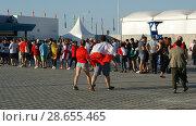 Купить «Вход на стадион Калининград (матч Бельгия - Англия)», фото № 28655465, снято 28 июня 2018 г. (c) Ed_Z / Фотобанк Лори