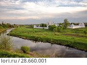 Купить «Scenic landscape with Intercession Pokrovsky Monastery on sunny spring evening, Suzdal, Russia», фото № 28660001, снято 15 мая 2018 г. (c) Юлия Бабкина / Фотобанк Лори