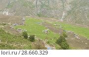 Купить «High-mountainous village Prok in Nepal. Manaslu circuit trek area.», видеоролик № 28660329, снято 17 июня 2018 г. (c) Dzmitry Astapkovich / Фотобанк Лори