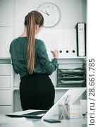 Купить «Back view of businesswoman at office interior», фото № 28661785, снято 31 июля 2017 г. (c) Яков Филимонов / Фотобанк Лори
