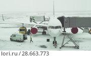 Купить «Service of the aircraft preparation for flight at a snowy aerodrome of Astana International Airport stock footage video», видеоролик № 28663773, снято 30 марта 2018 г. (c) Юлия Машкова / Фотобанк Лори