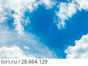 Купить «Clouds frame in sky», фото № 28664129, снято 18 июля 2018 г. (c) Ольга Сапегина / Фотобанк Лори