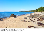 Купить «Traces of tourists on the beautiful sandy shore of Lake Baikal on a sunny afternoon. Summer hikes and outdoor trips», фото № 28664177, снято 27 августа 2016 г. (c) Виктория Катьянова / Фотобанк Лори