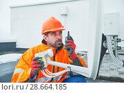 Купить «Satellite dish antenna installation», фото № 28664185, снято 15 декабря 2017 г. (c) Дмитрий Калиновский / Фотобанк Лори