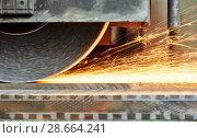 Купить «industrial grinding. finishing metal surface on horizontal grinder machine», фото № 28664241, снято 1 марта 2016 г. (c) Дмитрий Калиновский / Фотобанк Лори