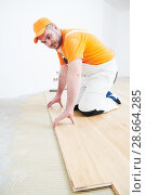 Купить «worker joining parquet floor.», фото № 28664285, снято 25 января 2018 г. (c) Дмитрий Калиновский / Фотобанк Лори