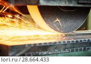 Купить «industrial grinding. finishing metal surface on horizontal grinder machine», фото № 28664433, снято 1 марта 2016 г. (c) Дмитрий Калиновский / Фотобанк Лори
