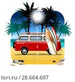 Купить «Cartoon Camper», иллюстрация № 28664697 (c) Александр Володин / Фотобанк Лори