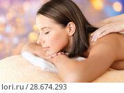 Купить «close up of beautiful woman having massage at spa», фото № 28674293, снято 25 июля 2013 г. (c) Syda Productions / Фотобанк Лори